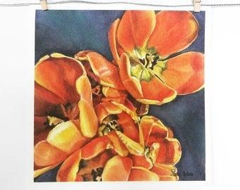 flower art print, orange tulips, botanical watercolor, flowers painting, orange and blue, floral decor