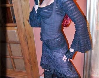 SALE - Under Bust Vest - Steampunk Vest - Burning Man - Dark Grey Vest - Festival Clothing - Bohemian Vest - Gypsy Fairy - Size Large