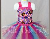 Colorful Rainbow Dora  birthday corset  tutu dress any size 12m 18m 2t 3t 4t 5t 6 lavender pink tutu