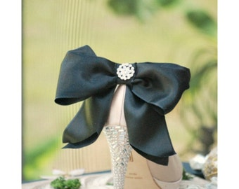 Oversized Shoe Clips Black Tie Affair Bow Rhinestone. Big Huge. MORE Ivory White Champagne Satin Ribbon. Night Couture Pin, Day Bridal Bride