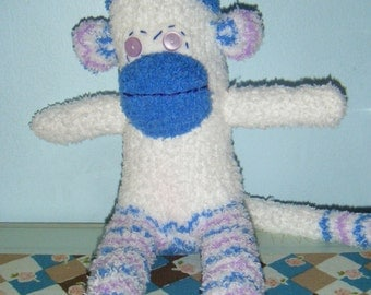 Fluffy White Sock Monkey With Blue and Purple Accents