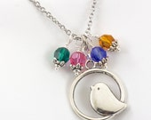 Mama Bird Necklace, Birth Stone Jewelry, Mothers Mom Necklace Silver, Grandmother Jewelry, Family Birthday Gift, Up to 4 Birth Stone Charms
