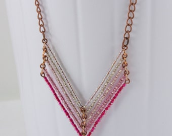 Pink Ombre Chevron Necklace, Necklace Hippie, Necklace Triangle, Beaded Chain Necklace, Antique Copper Chain, Beaded Pink Chevron Necklace