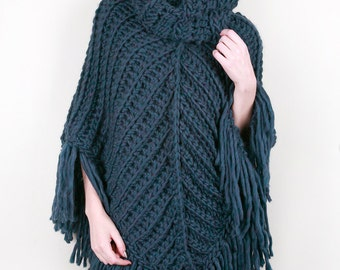 The Chevron Cowl Poncho in Lapis Blue Heather 100% Ultra-Soft Wool (Choose your colors!)