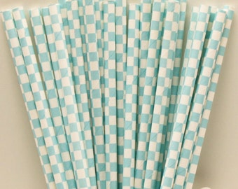 Paper Straws, Blue Check Paper Straws, Paper Drinking Straws, Wedding Dink Straws, Baby Shower, Birthday Party Straws, Mason Jar Straws, Fun