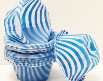 Plastic Cups, 12 Blue Stripe Ice Cream Cups, Blue Cups, Plastic Cups, Ice Cream Bowl, Wedding Ice Cream Bar, Dessert Cup, Birthday Party Cup
