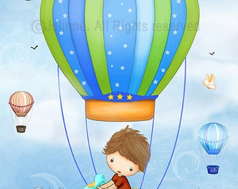 Hot air balloon kids wall art decor Boys bedroom wall art print Poster for kids room or nursery baby boy nursery decoration wall art
