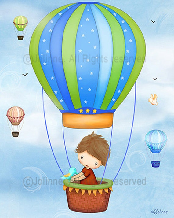 Boys room art, poster, Hot air balloon, children decor, wall art - from 7x9 up to 12x15 inch