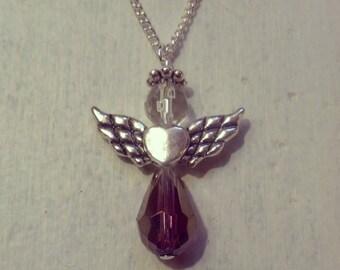 Angel charm necklace - dark purple