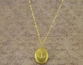 Gold Anchor Necklace - Simple Sailor Locket -  Nautical Pendant -  Long Anchor Necklace