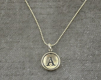 Letter A  Necklace- Sterling Silver Initial Typewriter Key Charm Necklace - Gwen Delicious Jewelry Design