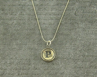 Silver Typewriter Key Pendant Necklace Charm - Letter P - Other Letters Available GDJ