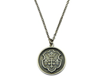 Silver Wax Seal Necklace - Royal Coat of Arms Crest  - Fleur de Lis and Crown