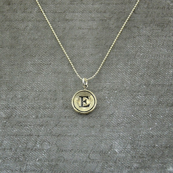 Letter E  Necklace - Sterling Silver Initial Typewriter Key Charm Necklace - Gwen Delicious Jewelry Design