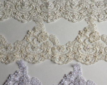 """Alencon Trim lace beaded with sequences white or ivory silver cording around the motives, 5"""" width"""