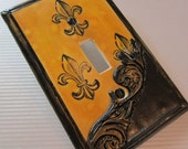 Ornate Black and Gold Fleur De Lis Switch Plate Cover French Country Decor single toggle MADE TO ORDER