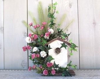 Bird House Rose Floral Arrangement Crackled Wood