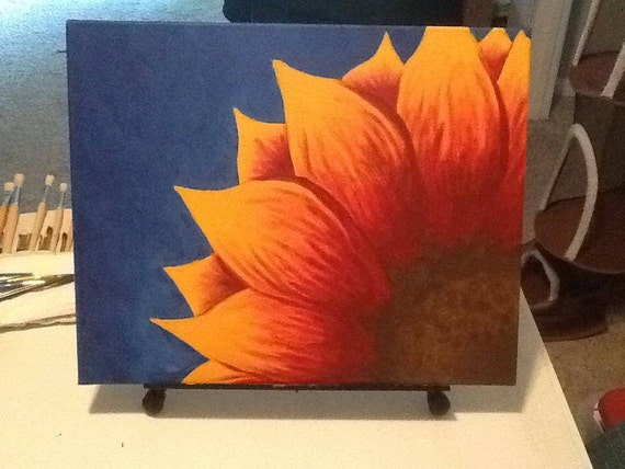 Original acrylic painting sunset sunflower for How to paint sunflowers in acrylic