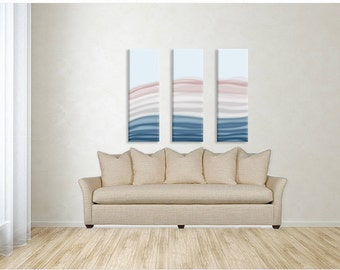 COASTAL DUNES Triptych Art , three 12x24 canvas wraps, beach cottage decor, coastal home decor, aqua pink peach taupe teal