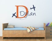 Plane & Boys Name Wall Decal - Airplane Decal with Initial - Personalized Boy Decal - Large