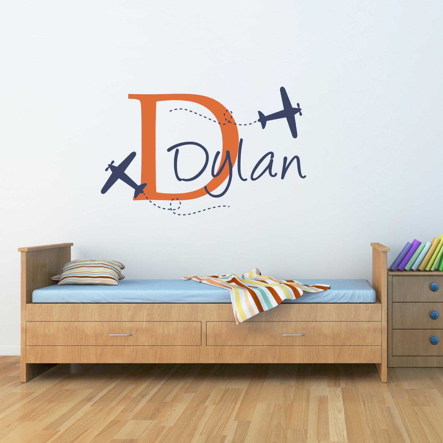 Plane & Boys Name Wall Decal Airplane Decal with Initial