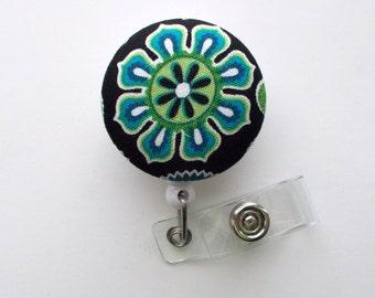 Green and Blue Pinwheel Flower - Cute ID Badge Reel - Nurse Badge Holder - Nursing Badge Reel - Retractable ID Badge Reel - Teacher Badge