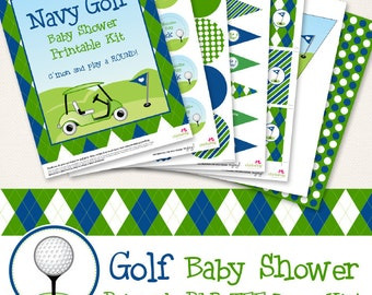 Navy Golf BABY SHOWER printable decor kit - Over 45 pages of fun personalized printables!