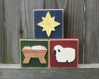 Nativity Christmas Wood Block Shelf Sitters with Baby Jesus in a Manger, Lamb and Star of Bethlehem