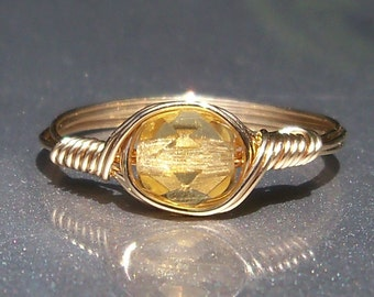 Golden Yellow Czech Glass Argentium Sterling Silver or 14k Gold Filled Wire Wrapped Ring