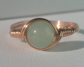 Green Aventurine 14k Rose Gold Filled Wire Wrapped Ring Custom Sized