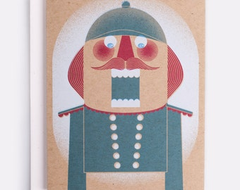 """Nutcracker Holiday Card - 100% Recycled French Paper Speckletone Kraft, Vintage Inspired, 4.25"""" x 5.5"""" A2"""