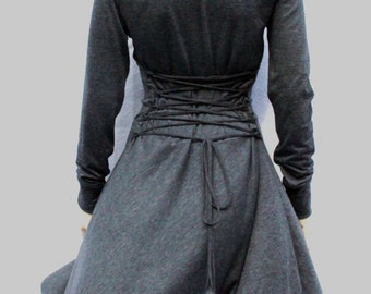 Dress , Grey Dress, Casual , Day Dress ,Low High Dress, Women Dress