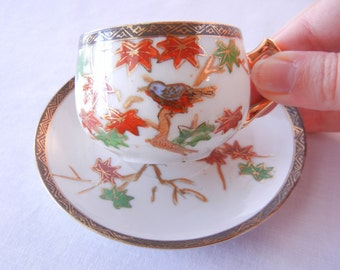 Teacup Set, Japanese Maple and Bird Motif, Wales China, Eggshell Thin Porcelain