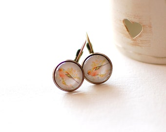 SALE -50% OFF. Birds on a Branch Earrings.Glass Dome Earrings, Nature Inspired