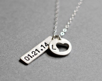 Handmade Silver Heart Necklace - Personalized Birth Date or Wedding Anniversary Gift, Engagement or Anniversary Necklace
