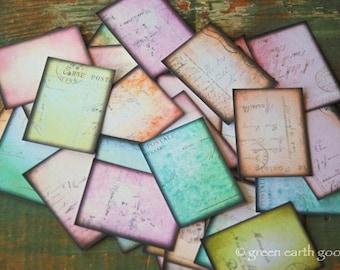 "25 Vintage Ephemera Stickers, 1.5"" x 2"" (38x51mm) Pastel Postcard stickers, Travel stickers, envelope seals, Recycled planner stickers"