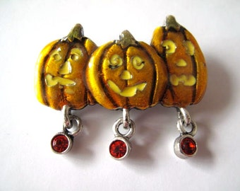 Pumpkin Brooch Halloween Fall Seasonal Estate Jewelry