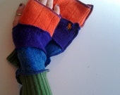 BRIGHT Recycled Sweater Armwarmers - Fingerless Gloves Mitts Texting Gloves