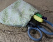 Green Lace Tie Dye Drawstring Pouch - Small Size