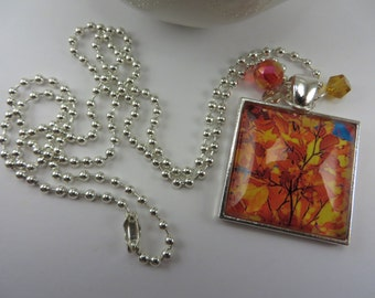 Fall Leaves Necklace Orange Yellow Blue Square Glass Pendant Boho Free Shipping