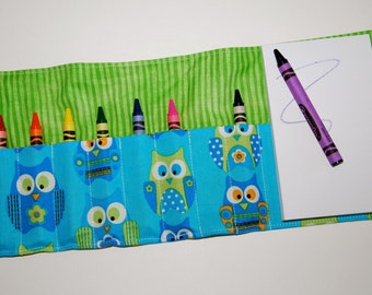 Crayon Roll Up - Holder - Organizer with Pad & Crayons - Owls Blue Green