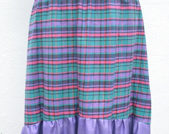 Bold colourful check cotton midi skirt with purple metallic hem M-L UK 12-14-16 o.o.a.k unusual handmade original bold