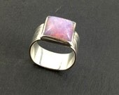 Square wide band ring iridescent harlequin fire opal sterling silver with damask pattern band