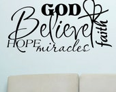 Vinyl Wall Lettering Words Quotes Religious Decals Collage Believe