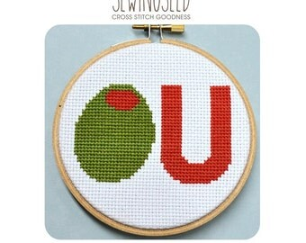 Olive U Counted Cross Stitch Pattern Instant Download