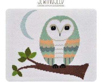 Barn Owl Cross Stitch Pattern Instant Download, Whimsical, DIY Nursery Decor