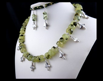 Prehnite, 925 Sterling Silver, Dangle Necklace, Dangle Earrings, Egyptian Style, Papyrus Shape, Faceted Gemstone, Set, Jewelry, Light Green