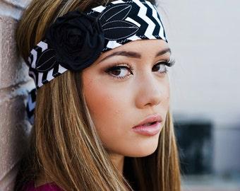 Black and White Chevron Headwrap,  Headband, Tie Headband with Black Flower Head Wrap Custom School Colors