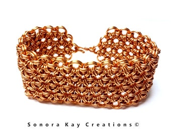 Wide Cuff Chainmaille Bracelet in Natural Copper Custom Made to Order Japanese Flower Weave