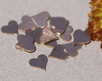 Copper Tiny Perfect Heart for Blanks Enameling Stamping Texturing Soldering  8 pieces